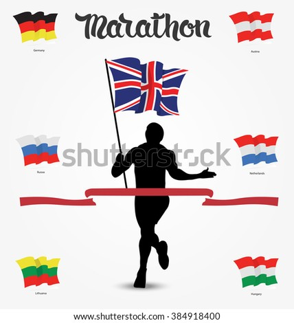 Running man silhouette with flag in his hand and hand drawn quote Marathon.