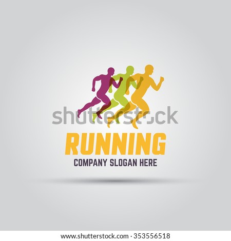 Running man silhouettes abstract isolated vector colored logo template with sample text  - stock vector