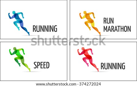 Running man, sport colorful poster, icon with splashes, shapes - stock vector