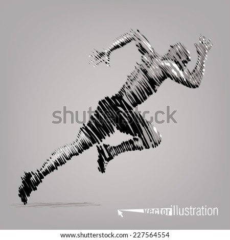 Running man. Vector artwork in the style of ink drawing - stock vector