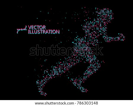 Running Man,vector graphics,composed of mosaic particle.