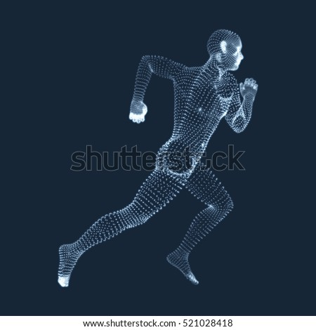 Running Man. Vector Graphics Composed of Particles. 3D Model of Man. Human Body Model. Body Scanning. View of Human Body.