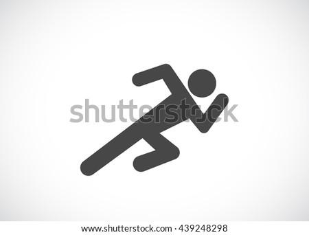 running man web icon - stock vector
