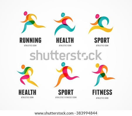 Running marathon colorful people icons and symbols - stock vector