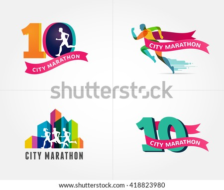 Running marathon, icon and symbol with number - stock vector