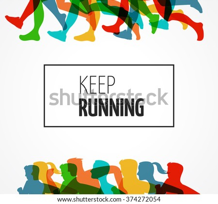 Running marathon, people run, colorful poster - stock vector