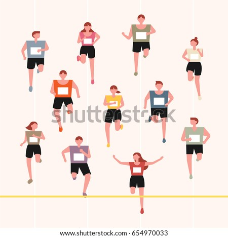 running marathoners character vector illustration flat design