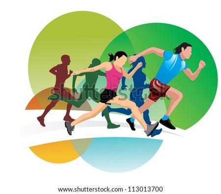 Running, men and women running, vector illustration - stock vector