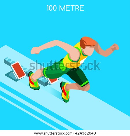 Running 100 Metres Dash of Athletics 2016 Summer Games.Speed Concept.3D Isometric Athlete.Sport of Athletics.Sporting Competition Race Runner.Sport Infographic Track Field olympics Vector Illustration - stock vector