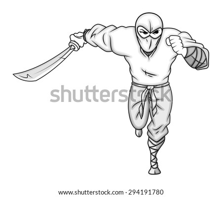 Running Ninja Character - stock vector