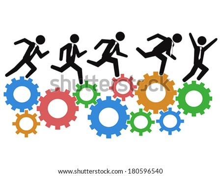 running on gears - stock vector