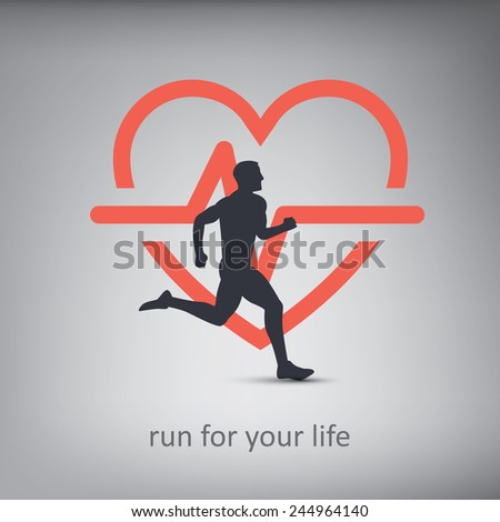 Running or jogging concept illustration with silhouette of a person with healthy lifestyle symbol in background. Cardio exercise. Eps10 vector illustration. - stock vector