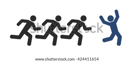 running people and winner icon - stock vector