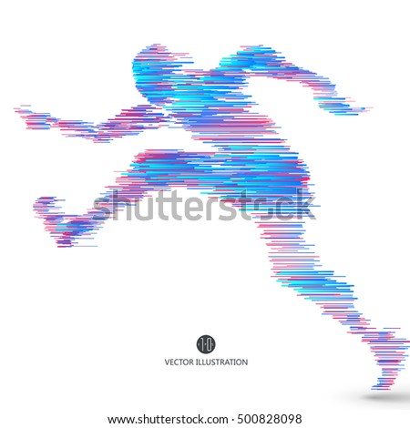 Running people, composed of colored lines.
