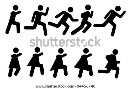 Running people - vector pictogram. Simple black silhouettes isolated on a white background. - stock vector