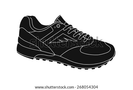 Running shoe Icon on white background. Vector illustration - stock vector