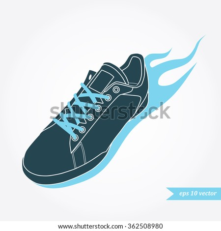 running shoe with fire. Sport and fitness logo, icon or symbol - stock vector