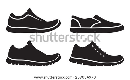Running shoes icons - stock vector