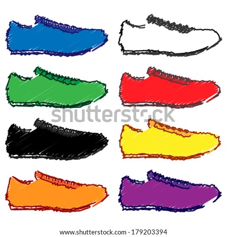 Running Shoes in Different Colours Blue White Green Red Black Yellow Orange Purple Pencil Style 1 - stock vector