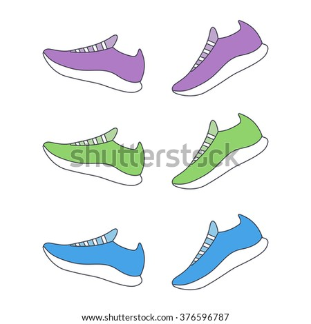 Running shoes. Sport shoes. Vector illustration