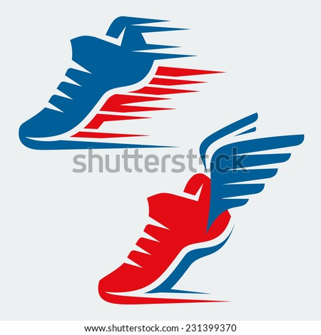 Running shoes with speed and motion trails and with wings - stock vector