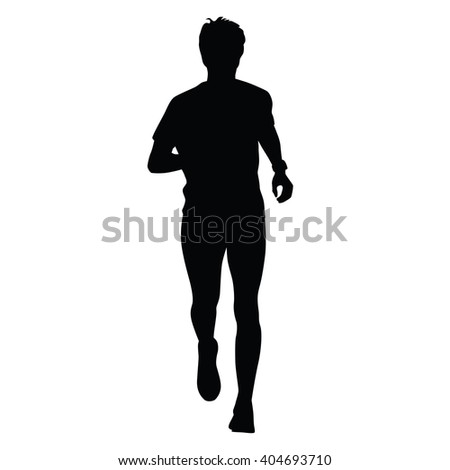 Running silhouette amateur runner. Watch on hand. Jogger, front view - stock vector