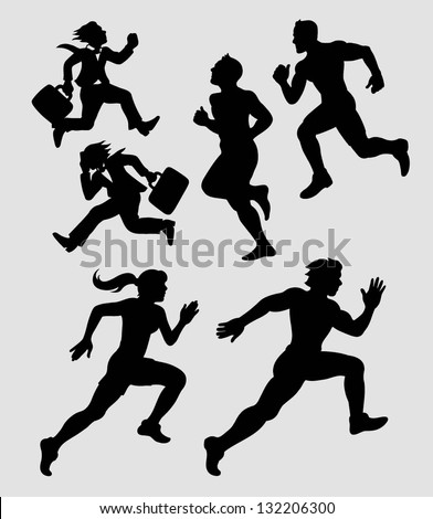 Running Silhouettes 1. Businessman and athlete black silhouettes. Smooth and detail vector. Good use for symbol your web or any design you want. - stock vector