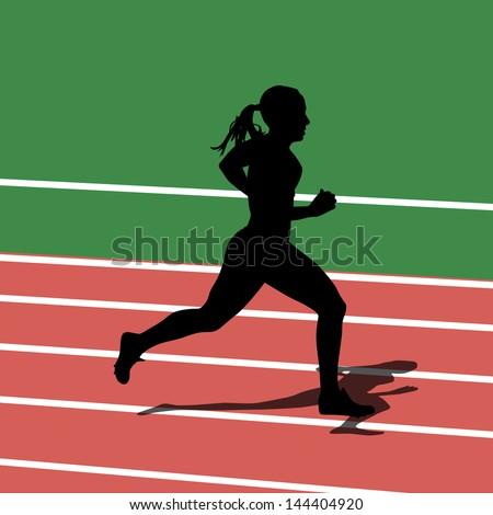 Running silhouettes in sport stadium. Vector illustration. - stock vector