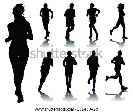 Running silhouettes 4-vector - stock vector