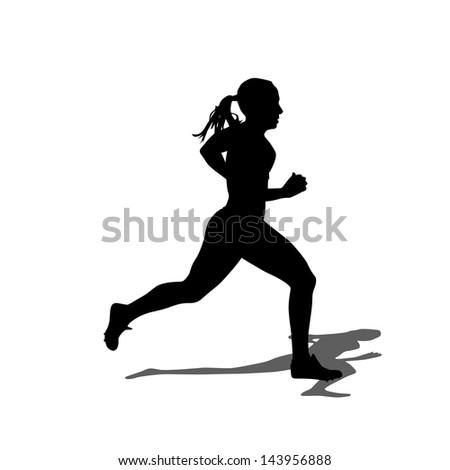 Running silhouettes. Vector illustration. - stock vector
