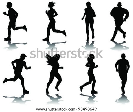 running silhouettes with shadows 2-vector - stock vector