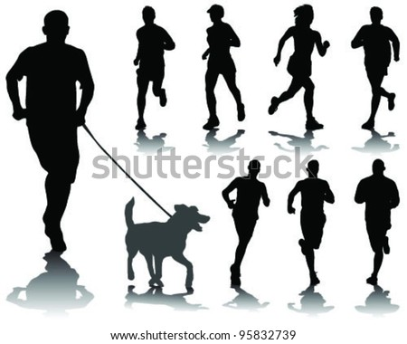 running silhouettes with shadows 3-vector - stock vector