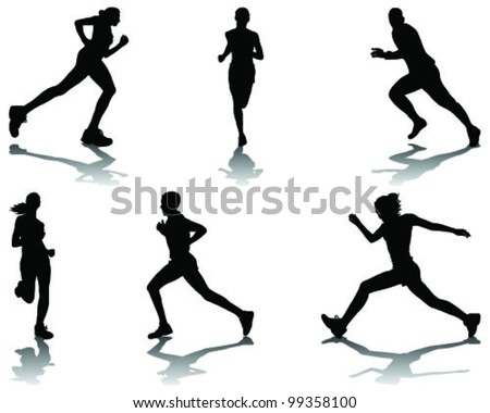 Running silhouettes with shadows 4-vector - stock vector