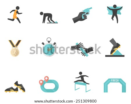 Running sport related icons in flat color style - stock vector