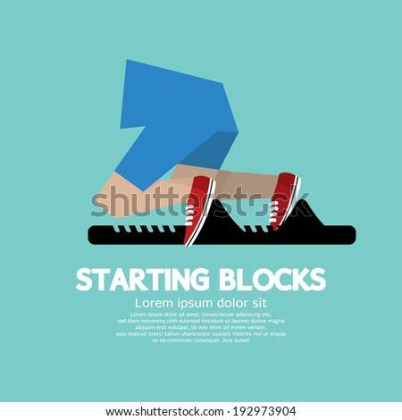 Running Starting Blocks Vector Illustration  - stock vector