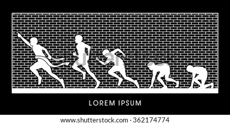 Running step, Never Give up, designed on outline brick wall background graphic vector.