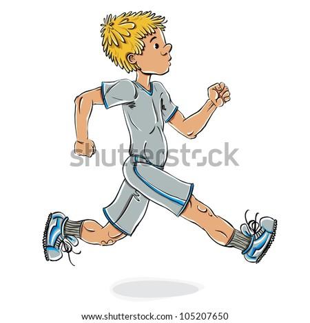 Running teen boy vector cartoon, cartoon style illustration. - stock vector