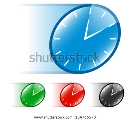 Running Time - Clock - Quick, Fast Vector - stock vector