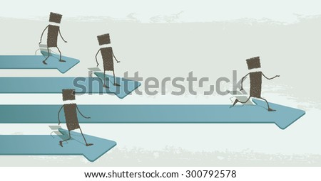 Running to success. Several stick figures running over some arrows pointing forward. One of them is the fastest, reaching success. EPS10 Illustration - stock vector
