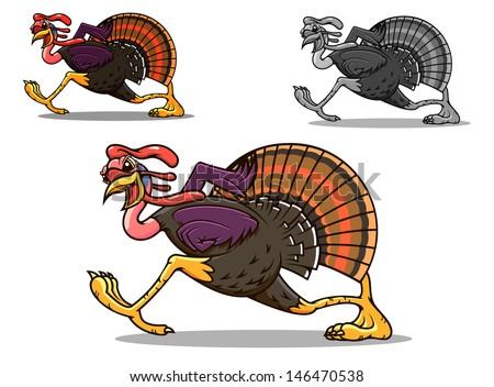 Running turkey bird in cartoon style for sport team mascot or another design or idea of logo. Jpeg version also available in gallery - stock vector