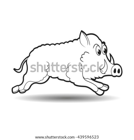 running wild boar in outline-vector drawing