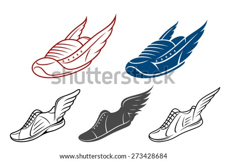 Running winged shoe icons, sneaker or sports shoe with wings - stock vector