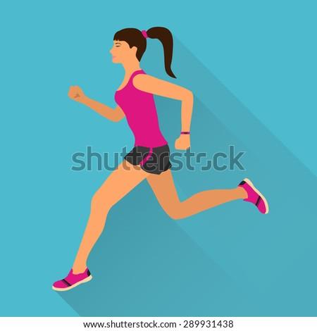 Running woman - stock vector