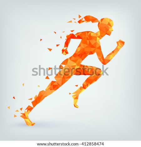 Running woman from triangles, low poly style, eps 10.  - stock vector
