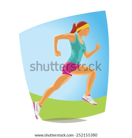 Running woman in sport wear. Detailed Vector - stock vector