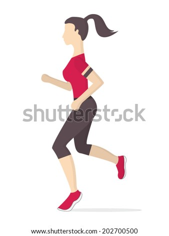 Running woman made in flat design style. Keeping fit exercises and jogging. Vector illustration. - stock vector