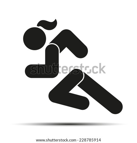 Running woman or girl. Simple symbol of run isolated on a white background. Vector Illustration. - stock vector