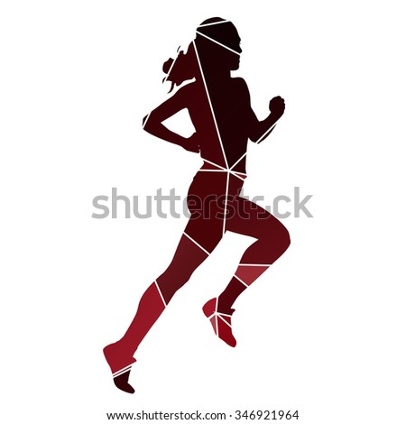 Running woman. Red abstract run silhouette - stock vector