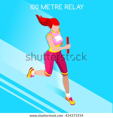 Running Woman Relay of Athletic 2016 Summer Games.Speed Concept.3D Isometric Athlete.Sport of Athletics.Sporting Competition Race Runner.Sport Infographic Track Field olympics Vector Illustration. - stock vector
