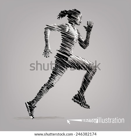 Running woman. Vector artwork in the style of ink drawing - stock vector